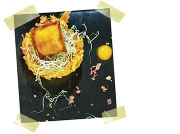 Xema de ovo con patacas e entrefebrado.