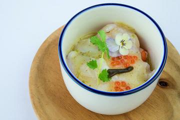 Tiradiño de peixe sapo e arroz feo