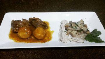 Carrillera sobre crema de castañas, cogumelos e patacas da Casa do Tulla