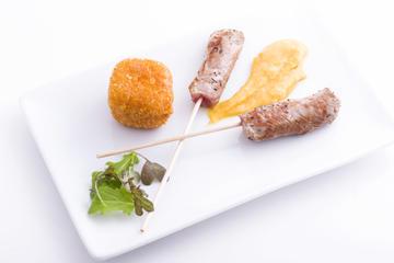 Cilindro do lombo baixo de vitela galega con dado de pataca e queixo