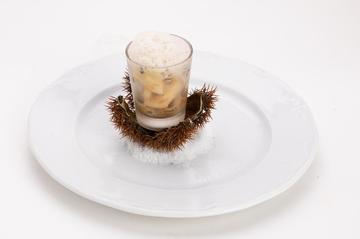 Chupito de navalla, froito da paixón e castaña  |  2,50€