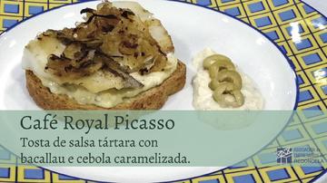 TOSTA DE SALSA TÁRTARA CON BACALLAU E CEBOLA CARAMELIZADA