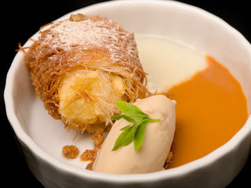 Crema frita de kataifi con helado de licorcafé de Gomariz y gel de lima
